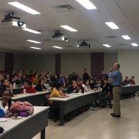Justin Fermann and  Krish Thaigarajan Sharman prompting students to discuss issues in aquacultu