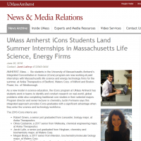 iCons students intern at MA life science & energy firms